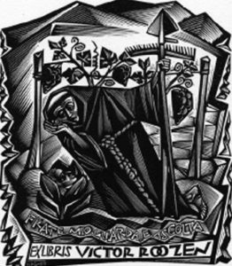 """Tranquillo Marangoni - Ex libris Victor Roozen """"Frate mio guarda e ascolta"""" (1950)"""
